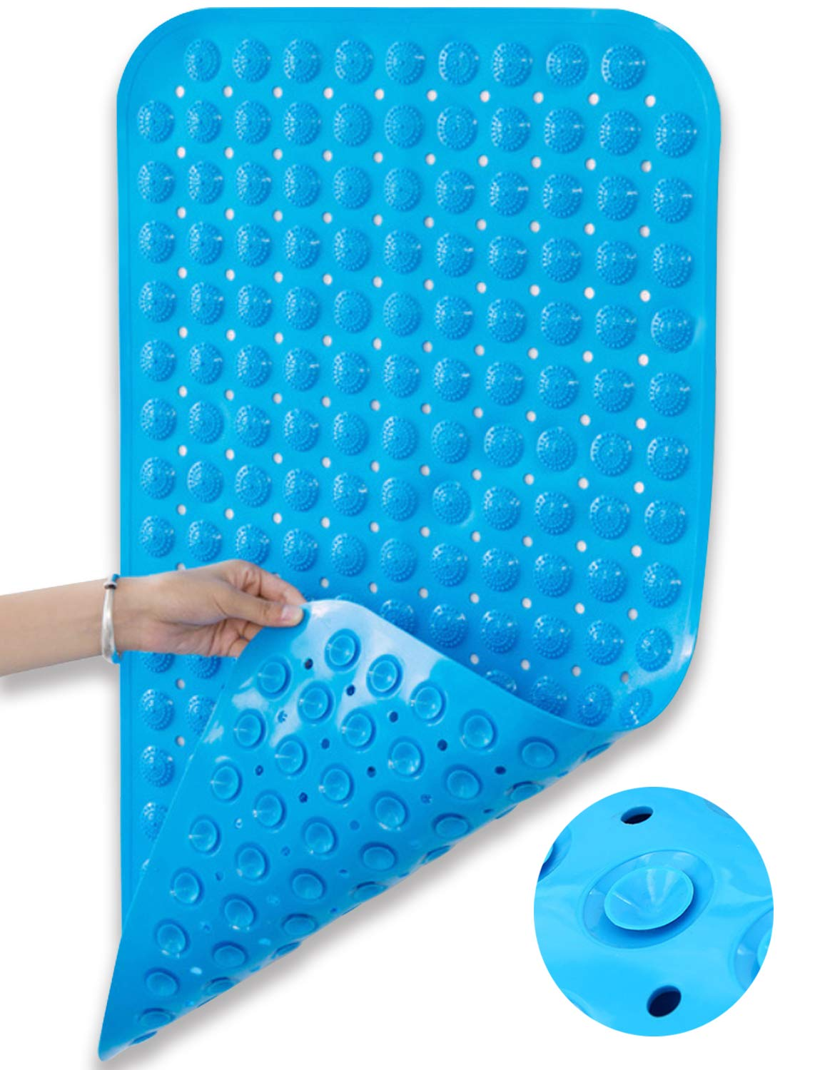 Huryfox Non Slip Bath Mat For Tub And Shower Baby Bathtub Mats Anti Skid Bathroom Accessories Pad With Suction Cups And Drain Holes For Kids Blue 15 7 X31 5