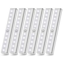 Motion Sensor Closet Lights Battery Powered Lights Led Under Cabinet Lighting Wireless Under Counter Light, Stick On Lights, Safe Night Light Bar for Stairs Hallway Kitchen, White 6000K 6 Pack