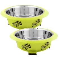 Iconic Pet Color Splash Designer Oval Fusion Bowl (Set of 2), Elevated Stainless Steel Pet Bowl, Anti-Skid Rubber Legs, Dog/Cat Food and Water Bowl