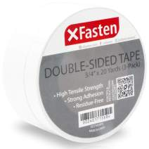 XFasten Double Sided Tape, Removable, 3/4-Inch by 20-Yards, Pack of 3, Ideal as a Gift Wrap Tape, Holding Carpets, and Woodworking