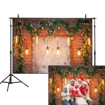 Allenjoy 7x5ft Christmas Glitter Brick Wall Backdrop Living Room Fireplace Lights Pine Leaves Wreath Photography Background Family Party Decoration Cake Table Banner Photo Studio Booth Props