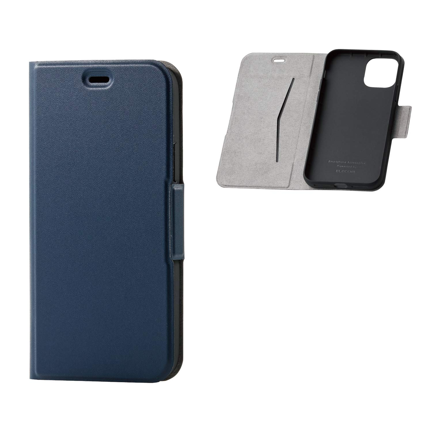 ELECOM-Japan Brand- Smartphone PU Leather Flip Case Slim and Magnetic Type/Compatible with iPhone 11 Pro/Navy/PM-A19BPLFUNV