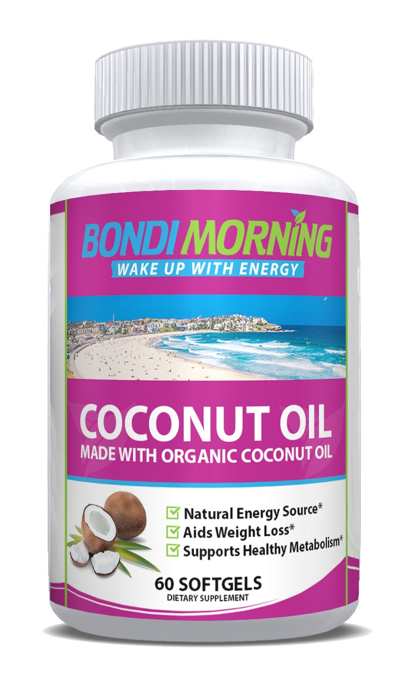 Bondi Morning Organic Coconut Oil Softgels 1000mg - 100% Extra Virgin Supplement, Healthy & Non-GMO Formula, Aids Natural Weight Loss, Hair Growth, Boosts Energy Levels, Rich MCT's Source - 60 Pills
