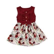 Oklan Toddler Baby Girl Summer Dress Sleeveless Demin Tops Floral Dresses