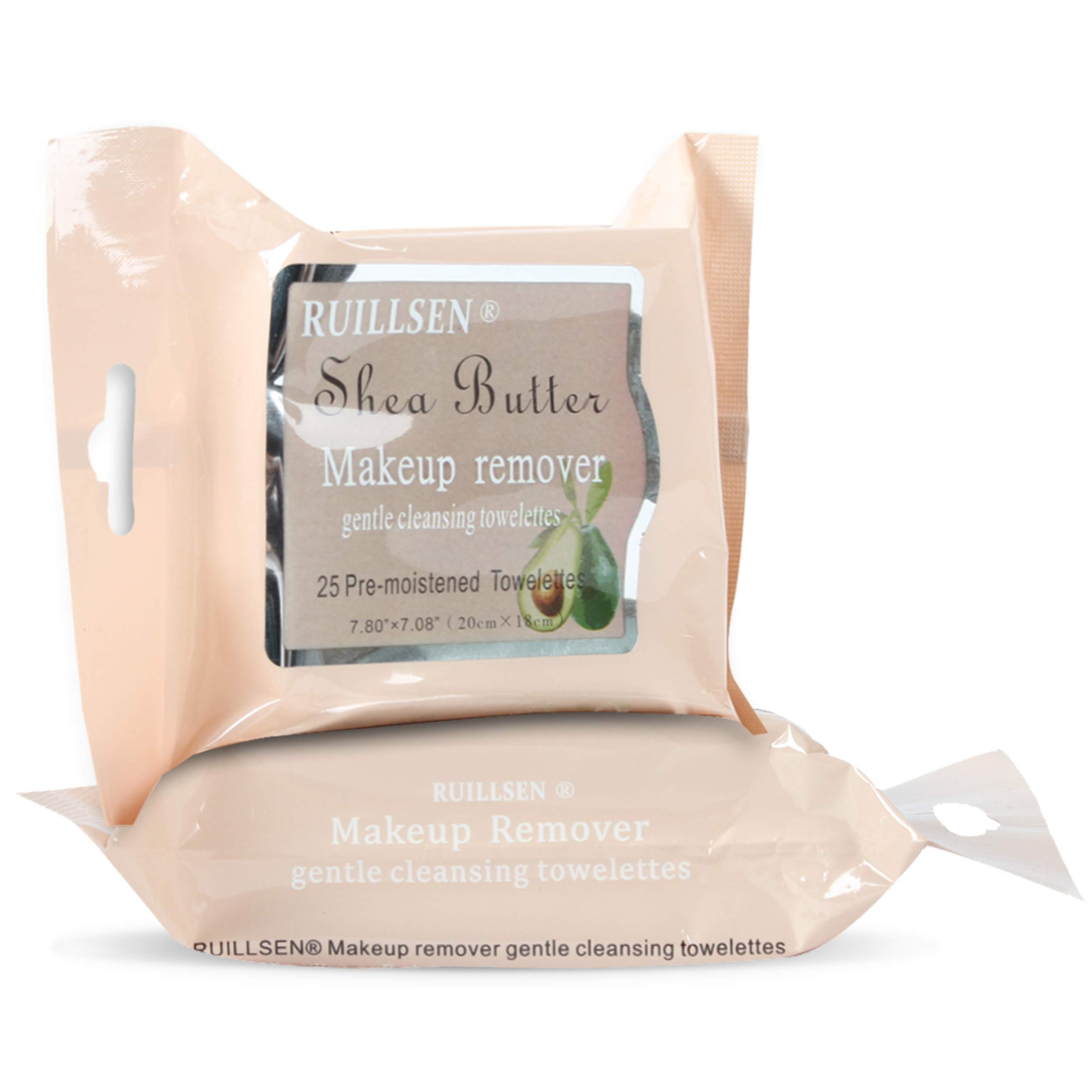RUILLSEN Makeup Removing Wipes - Gift for Mom Facial & Eye Makeup Remover Wipes Cleansing Towelettes Daily Face Wipes to Remove Dirt, Oil, Makeup & Waterproof Mascara(Shea Butter Flavored,25 Ct,2 Pks)