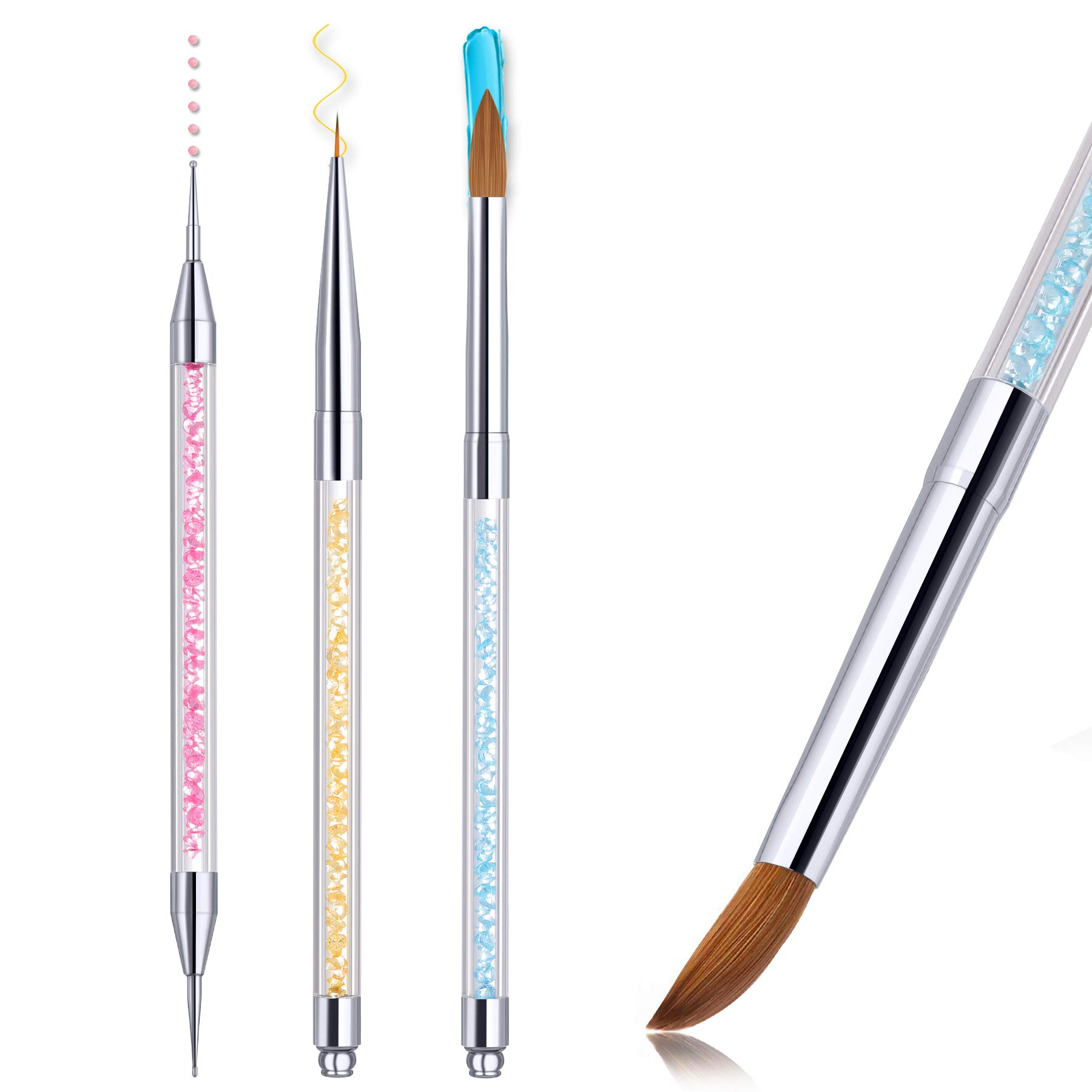 100% Kolinsky Sable Nail Brush, Larbois Acrylic Nail Art Brushes Set, Professional Application Lines Dotting Painting Drawing for Home and Salon Use Tools, 3 Pcs # Size 8
