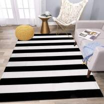 Indoor Outdoor Area Rug,3'x5' Cotton Soft Striped Rug Black and White Living Room Rug Washable Hand-Woven Durable Carpet Mat for Bedroom Kitchen Bathroom Dining Room