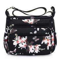 Nawoshow Nylon Floral Multi-Pocket Crossbody Purse Bags for Women Travel Shoulder Bag