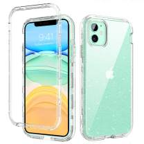 GUAGUA iPhone 11 Case Crystal Clear Glitter Bling Shiny 3 in 1 Hybrid Hard PC Soft TPU Bumper Cover Scratch Resistant Shockproof Protective Phone Case for iPhone 11 6.1-inch 2019 Transparent