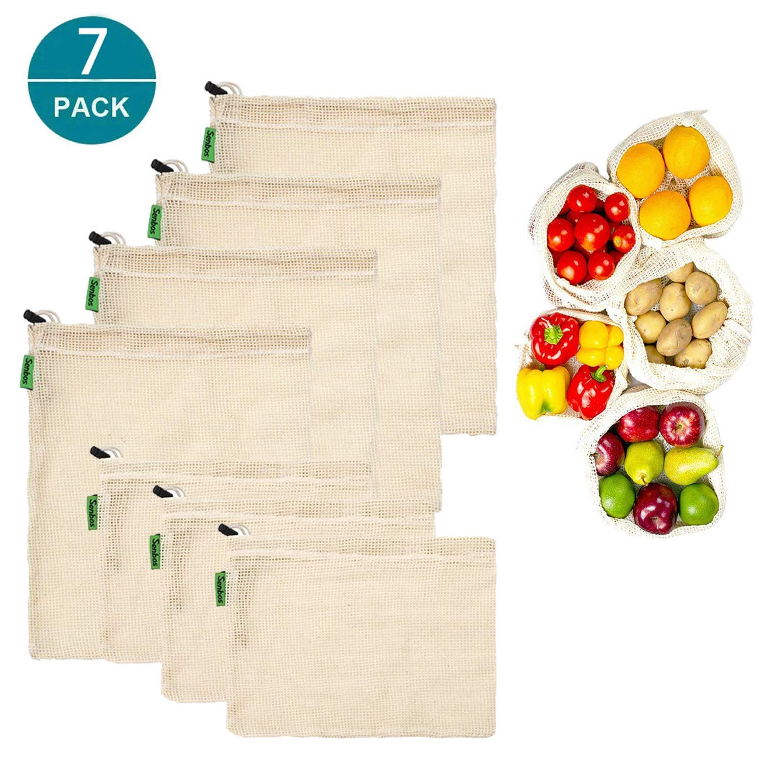 Reusable Produce Bags, Set of 7 Mesh Produce Bags Lightweight Drawstring Bags Zero-Waste Organic Bag Washable Cotton Bulk Bag For Grocery Shopping Storage Fruits Vegetable Toys (4 Medium, 3 Small)