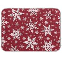 Absorbent Dish Drying Mat Christmas White Snowflake Seamless Pattern Dishes Drainer Protector Pad Trivet Mat Pot Holder with Hanging Loop for Kitchen Countertops Sinks Refrigerator 16 x 18 Inch