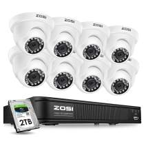 ZOSI H.265+ 5MP Dome Security Camera System for Home, 8CH CCTV DVR with Hard Drive 2TB for 24/7 Recording, 8X 5MP 2K Surveillance Camera Outdoor Indoor,Long Night Vision, Remote Access