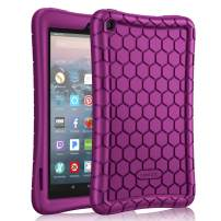 Fintie Silicone Case for All-New Amazon Fire 7 Tablet (9th Generation, 2019 Release) - [Honey Comb Series] [Kids Friendly] Light Weight [Anti Slip] Shock Proof Protective Cover, Violet