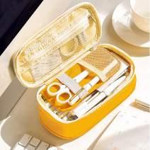 Oyachic Telescopic Pencil Case Large Capacity Zipper Pen Bag Canvas Makeup Stationery Box Office School Supplies Pouch (Yellow)