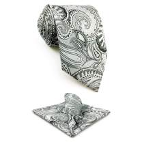 S&W SHLAX&WING Necktie Hanky Set Paisley Tie with Pocket Square Silk Business
