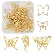 10pcs Golden Open Bezel Butterfly Pendants Charms Resin Molds for Bracelet Necklace Jewelry Making