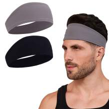 Sweat Bands Headbands for Men and Women - Sport Non-Slip Head Band, Workout Athletic Sweatband, Stretchy Moisture Wicking Unisex Hairband, Long Hair, Running, Hiking, Basketball, Tennis, Exercise Gym