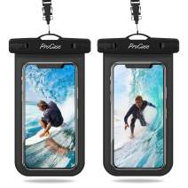 "Procase Universal Waterproof Pouch IPX8 Waterproof Cellphone Dry Bag Underwater Case for iPhone 11 Pro Max Xs Max XR X 8 7 6S+ SE 2020, Galaxy S20 Ultra S10 S9 S8/Note10+ 9 8 up to 6.9"" -2 Pack, Black"