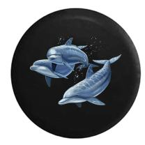 American Unlimited Family of Dolphins in The Ocean Sea Light Spare Tire Cover (Fits: Jeep Wrangler Accessories or SUV Camper RV) Black 26-27.5 in