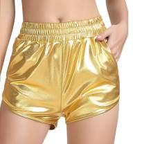 Women's Yoga Hot Shorts Elastic Waist Shiny Metallic Pants