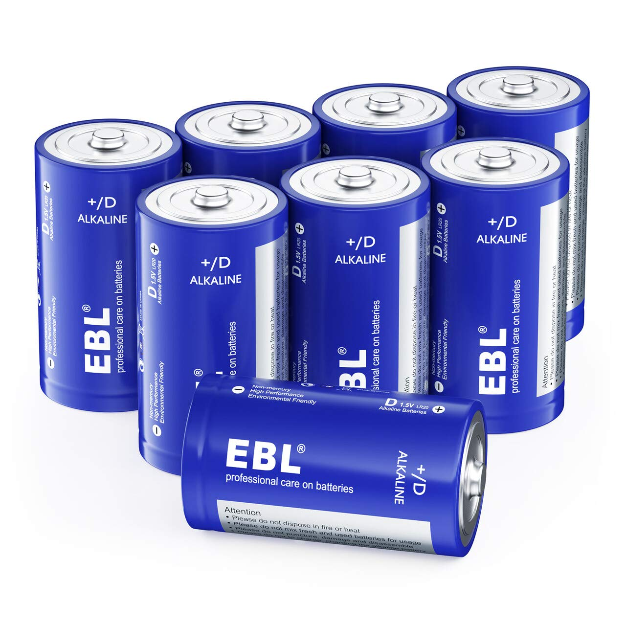EBL D Batteries Alkaline D Batteries - Durable D Batteries for Electronic Devices Household and Business(Pack of 8)