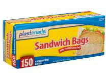 Plastimade Disposable Plastic Sandwich Bags With Fold Close Top 150 Bags, Great For Home, Office, Vacation, Traveling, Sandwich, Fruits, Nuts, Cake, Cookies, Or Any Snacks (1 Pack)