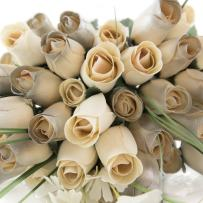 The Original Wooden Rose 25 Year Anniversary Silver and White Flower Bouquet Closed Bud (3 Dozen)