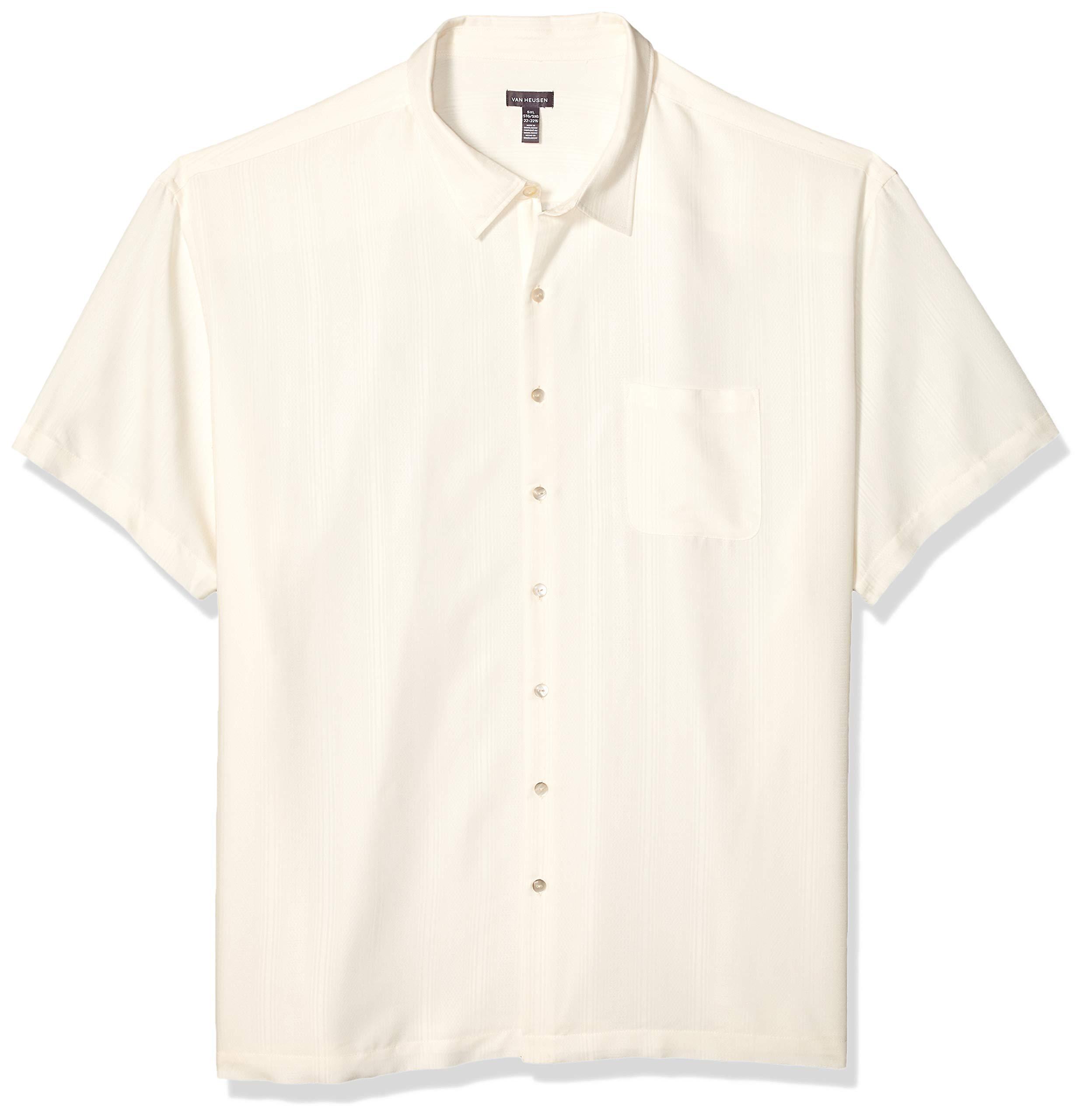Van Heusen Men's Big and Tall Air Short Sleeve Button Down Poly Rayon Stripe Shirt