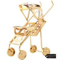 Matashi Goldplated Genuine Crystals Baby Stroller Ornament