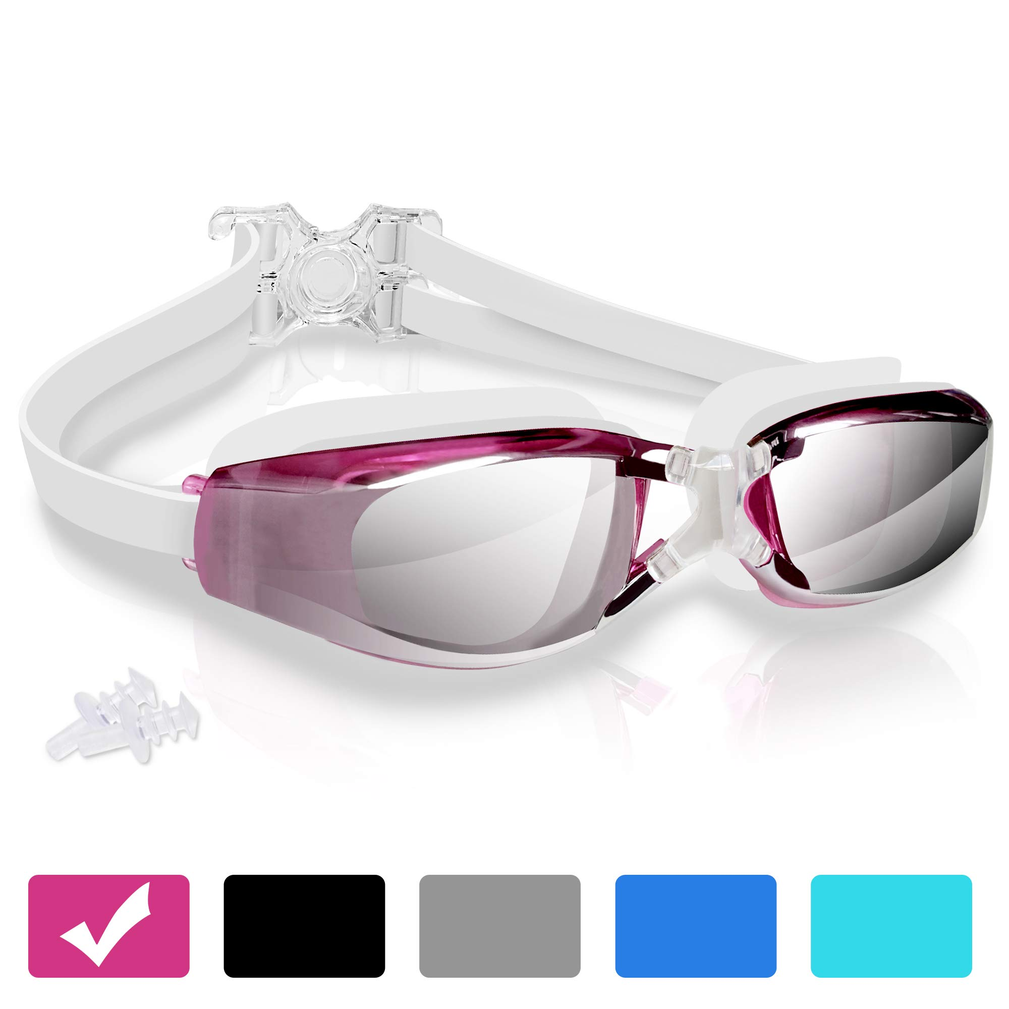 arteesol Swimming Goggles,No Leaking Anti Fog Swim Goggles Crystal Clear Vision Mirrored with UV Protection,Free Protective Case and Earplug Included,for Adults and Kids 5 Colours