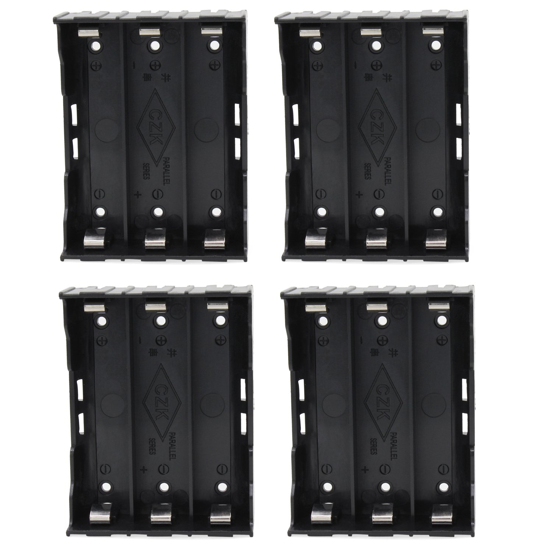 abcGoodefg 18650 Battery Holder with Pin, 3 Slots 3.7V 18650 Battery Holder Storage Box Case 4 Pack