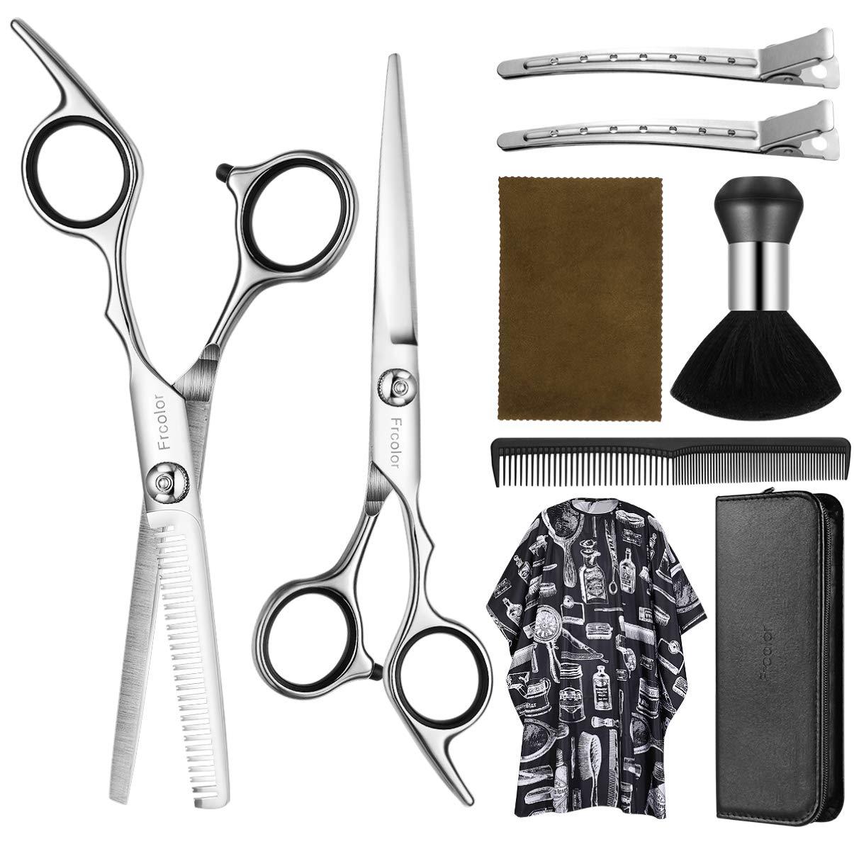 Hair Cutting Scissors Set 6.7 Inch, Frcolor 9 Pcs Stainless Steel Hair Cutting Shears Hairdressing Scissors Professional Hair Shear Kit For Men Women Pet
