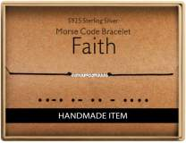 Birthday Gifts for Friends Morse Code Faith Bracelet 925 Sterling Silver Handmade Bead Adjustable String Bracelets Inspirational Jewelry for Women