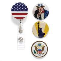 Buttonsmith Uncle Sam Tinker Reel Retractable Badge Reel - with Belt Clip and Extra-Long 36 inch Standard Duty Cord - Made in The USA
