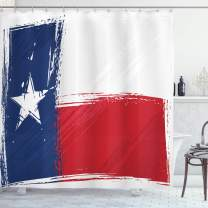 "Ambesonne Texas Star Shower Curtain, Grunge Flag with Watercolor Brush Strokes Independent Country, Cloth Fabric Bathroom Decor Set with Hooks, 75"" Long, Vermilion Dark"