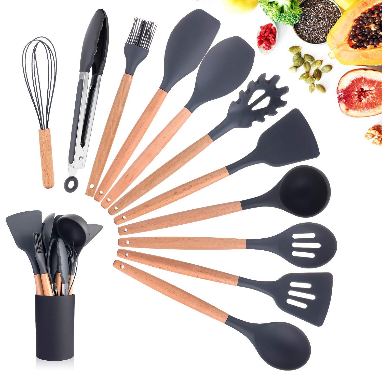 Silicone Cooking Utensils Kitchen Utensil Set, 11 Pieces Natural Wooden Handles Cooking Tool BPA Free Non Toxic Silicone Turner Tongs Spatula Spoon Kitchen Gadgets Utensil Set for Nonstick Cookware