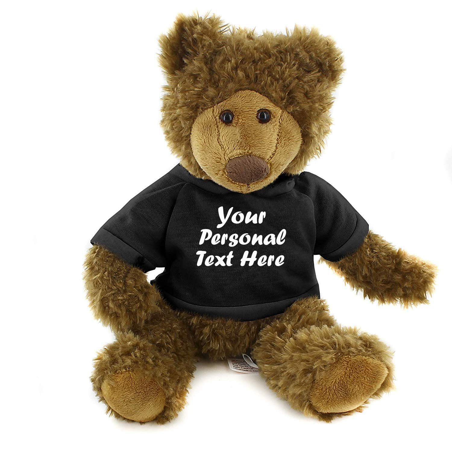Plushland Adorable Frankie Bear 12 Inches, Stuffed Animal Personalized Gift - Great Present for Mothers Day Valentine Day Graduation Day Birthday Christmas - Custom Text on Hoodie (Black)