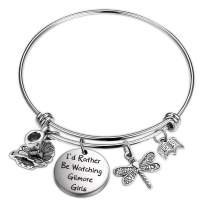 Ribukat Gilmore Girls Jewelry Sister Gift Dragonfly Jewelry for Women Inspired Gift for Her I'd Rather Be Watching Gilmore Girls Bracelet