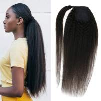 VeSunny Natural Human Hair Kinkys Straight Ponytail With One Clip For Black Women, Brazilian Yaki Long Ponytail Wrap Around Extension Real Human Hair 20inch 80G/Set