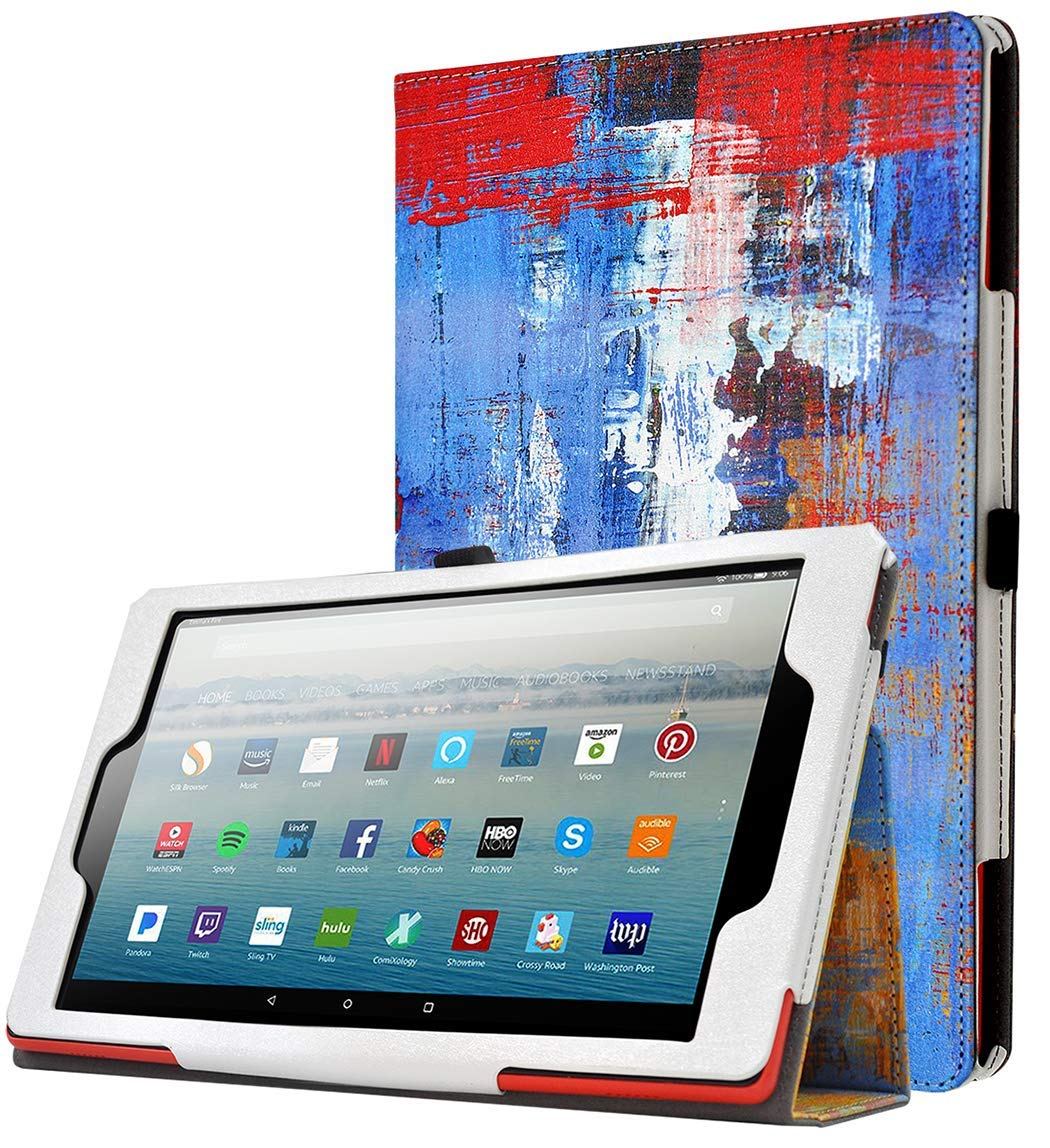 Poetic All-New Fire HD 10 Tablet Case (7th Gen 2017 and 9th Gen 2019 Release), Premium Slim Synthetic Leather Flip Stand Cover,Auto Sleep/Wake, Magnetic Closure, for Amazon Fire HD 10.1 Inch, Paint