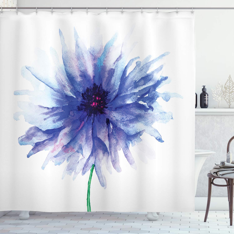 "Ambesonne Watercolor Flower Shower Curtain, Single Large Petite Cornflower Plain Background Mother Earth Paint, Cloth Fabric Bathroom Decor Set with Hooks, 70"" Long, Violet Blue"