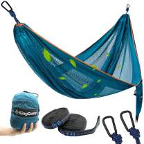KingCamp Camping Hammock, Portable Mesh Hammock Breathable Lightweight Ice Silk Single Hammocks for Outdoor and Indoor, 330lbs Ultralight with 2 Tree Straps and Storage Bag(Blue)