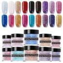NICOLE DIARY 10g Dipping Nail Powder Colorful Glitter Acrylic Nail Powder Without Lamp Cure Natural Dry Nail Glitter Long Lasting Nail Art Decoration(18 Boxes)