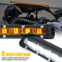 "Xprite 8"" Single Row Slim LED Light Bar w/Amber Backlight, 30W CREE Lightbar for SUV ATV Pickup Truck Jeep 4x4 Boat - Sunrise Series"