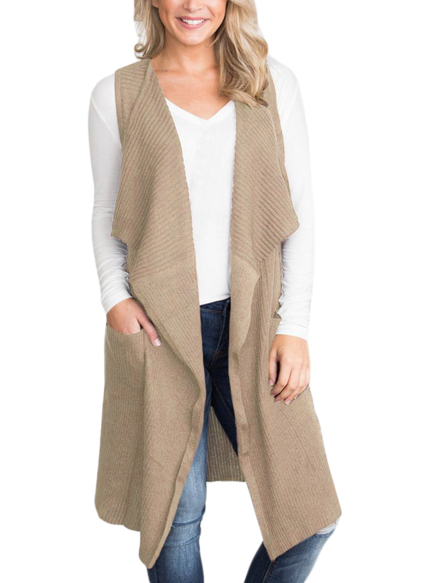 Sidefeel Women Sleeveless Open Front Knitted Long Cardigan Sweater Vest Pocket