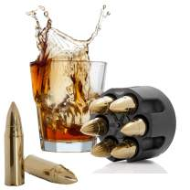 Bullet Whiskey Stones Gold with Base Extra Large Whiskey Ice Cubes Reusable - Cool Gifts for Men - Set of 6 Bullet Ice Stones Stainless Steel in Revolver Base - Chilling Whiskey Rocks Gift Set Koozam