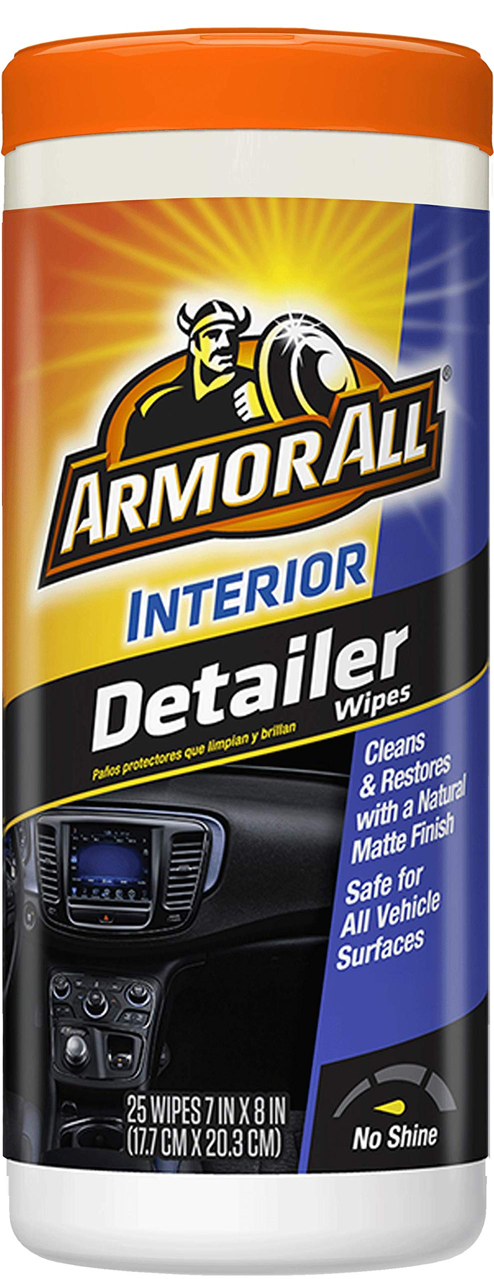 Armor All Car Interior Cleaner Protectant Wipes - Cleaning for Cars & Truck & Motorcycle, Natural Finish, 25 Count (Pack of 6) 78503-6PK
