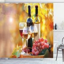 "Ambesonne Wine Shower Curtain, Tasty Wine on Wooden Cask on Grape Plantation Countryside Harvest Rural Growth, Cloth Fabric Bathroom Decor Set with Hooks, 70"" Long, Orange Black"