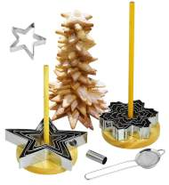 NewlineNY 16 Pcs Star Shaped Cookie Molds Cutters to Create Christmas Tree-Like Cookie Display with Recipe