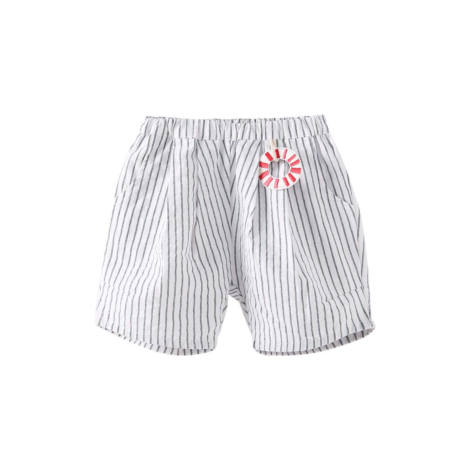 pureborn Toddler Baby Boy Classic Striped Cotton Shorts Pull-on Pants